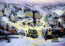 Vinyl Christmas Village photography Photo prop background backdrops 7X5FT SD150