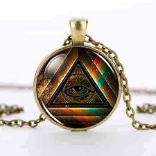 bronze Masonic free Mason Freemason Illuminati Pendant Satanism Necklace mens us