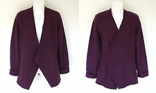 $298  NWT EILEEN FISHER BOILED WOOL SHAPED JACKET CARDIGAN W/PIN CABERNET M