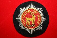 BRITISH HERTFORDSHIRE FIRE BRIGADE SERVICE OFFICER'S CAP BADGE BULLION WIRE