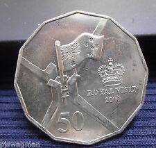 2000 ROYAL VISIT  FIFTY Cent 50c Uncirculated Coin   Very Nice FROM MINT BAG