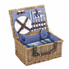 VonShef Luxury 2 Person Traditional Picnic Hamper Wicker Willow Basket & Blanket