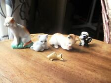 VINTAGE 6 LOT OF MINIATURE CATS X 3 + SKUNK + 2 X FISH GREAT COLLECTABLES