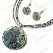 ABALONE pendant NECKLACE/EARRINGS SET glass bead SILVER PLATED KC enamel paua