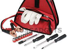 17pc Roadside Car Emergency Tool Kit Jumper Cables Tire Pressure Gauge Gloves FS