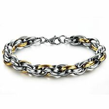 18K Gold Plated Stainless Steel Chain titanium Bracelet for Men