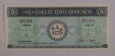 ANA collector currency blue matching serial numbers 1$ 5$ Series 1988 ABNC