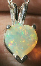 7mm HEART .78ct Solid WELO OPAL .925 Sterling Silver Pendant Necklace