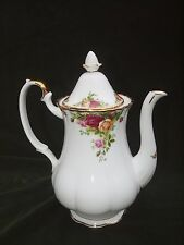Large Royal Albert Old Country Roses Coffee Tea Pot 1962 ENGLAND White Gold Gilt