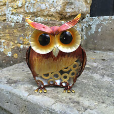 FABULOUS SMALL PAINTED METAL OWL GARDEN SCULPTURE ORNAMENT NEW & BOXED 24093