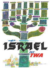 "TWA Airline 8.5"" X 11""  Travel Poster [ ISRAEL ] -"