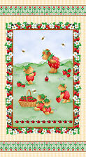 Henry Glass Strawberry Bears by Kim Bowles 9565P 48 PANEL Cotton Fabric