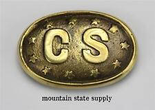 U.S. Civil War South Confederate States of America CS & Stars Brass Belt Buckle