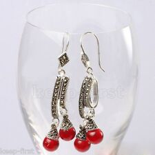 Vintage Style Sterling Silver 925 Red Jade Marcasite Drop Leverback Earrings