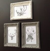 joblot 3x Vintage Shabby Chic Animal Print Deer Picture Frames