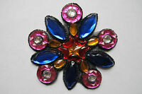 """4-1/2"""" Colorful Rhinestone Flower Beaded Sequin Applique-BS03"""
