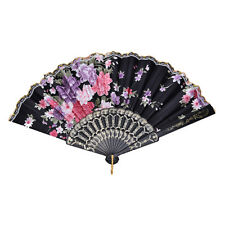 Dance Wedding Party Lace Silk Folding Hand Held Flower Pattern Fan TSUS