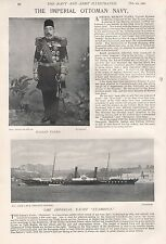 "1897 ANTIQUE MILITARY PRINT-IMPERIAL OTTOMAN NAVY, HASSAN PASHA,YACHT ""STAMBOUL"""