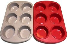2 Set 6 Cup FOOD GRADE Silicone JUMBO Large Muffin Pan Tray Mold Cupcake Dessert