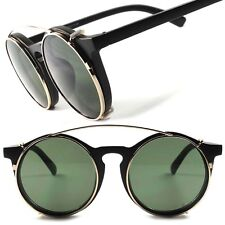Matte Black Vintage Retro Funky Goth Style Steampunk Round Clip-Ons Sun Glasses