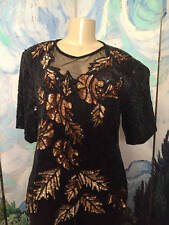 STENAY M BLACK/GOLD SILK BEADED/SEQUIN SHEER NECK LEAF DESIGN SHORT SLEEVE TOP
