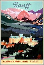 Banff Hotel 1939 Canadian Pacific Hotel Vintage Poster Art Print Travel Canada