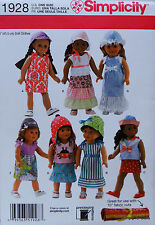 "Simplicity 1928 Sewing PATTERN for 18"" AMERICAN GIRL Doll Clothes w/ 7 Outfits"