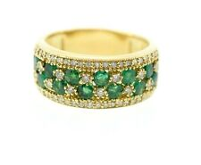EFFY 14k Yellow Gold 1.20ctw Green Emerald & .64ctw Diamond Band Ring Sz 9