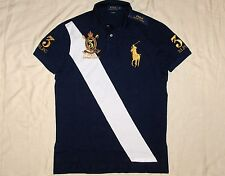 POLO RALPH LAUREN Custom Fit BIG PONY Mesh Banner Polo Shirt, Crest, Navy, LARGE