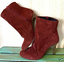NEW Free People rusty red suede Slouchy Heel Fairfax Ankle Boots 37/6-6.5 $178