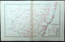 1886 Picturesque Atlas Large Antique Rainfall Map of New South Wales, Australia