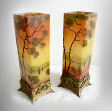Pair of French art glass vases with enamel lake trees decoration - FREE SHIPPING