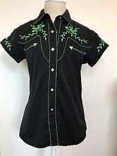 PANHANDLE SLIM Retro Western Wear Sz M Embroidered Blouse Black Short SLEEVE