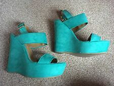 Ladies Fab River Island Platform Wedge Sandals - Turquoise Size 6