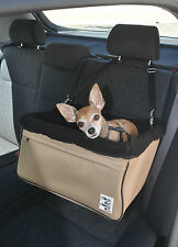 Large Beige Dog Car Booster Seat (black lining) - Dogs Out Doing *