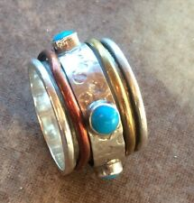 Genuine Sterling Silver Turquoise Spinner Meditation Ring Sz 7 BOHO FREE PEOPLE