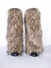 NEW Awesome Faux Fur Leg Muffs boot-covers leggings warmers brown boots fake NWT
