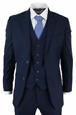 Men's Slim Fit Suit Blue 3 Piece Work Office or Wedding Party Suit
