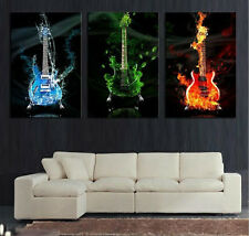 Modern Abstract Oil Painting Wall Decor Art Huge - RGB Electric Guitar Music 3pc