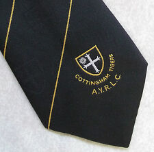 COTTINGHAM TIGERS RUGBY LEAGUE CLUB AYRLC STRIPED TIE VINTAGE 1980s 1990s RETRO