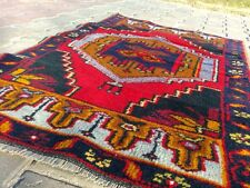 Antique 1900-1939s Tent- Woven 2'5''x4' Nomad Wool Pile Carpet Turkey
