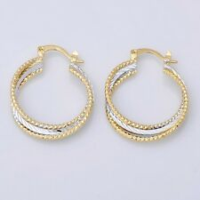 """New 14K Yellow & White Gold Plated 2-Tone Textured Twisted 1.25"""" Hoop Earrings"""
