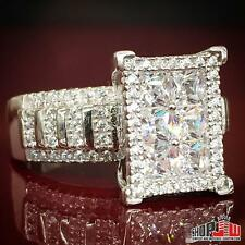 Ladies White Gold Finish .925 Silver Fancy Ring Chunky Style Design Womens CZ