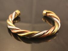 Long Solid Thick Round Indian 3-color Copper Delicately Braided Cuff Bracelet