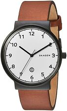 Skagen Men's SKW6297 Ancher White Dial Brown Leather Watch