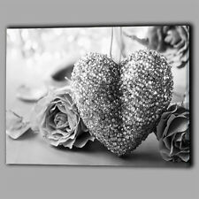 Black & White Rose Crystal Heart Floral Canvas Wall Art Pictures XL Print Flower