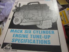 Mack Truck Engine Tune Up Specifications Manual Year 1984