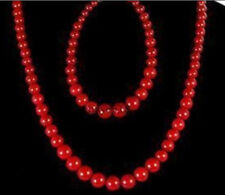 """Beautiful 6-14mm Red Coral Round Beads Necklace 18"""" + Bracelet 7.5"""" Jewelry Set"""