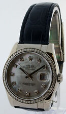 Rolex Datejust 36mm 18k White Gold Mother of Pearl & Diamond Watch 116189 MD