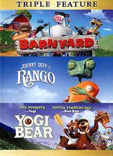 Barnyard/Rango/Yogi Bear (DVD, 2014, 3-Disc Set) New Free Shipping